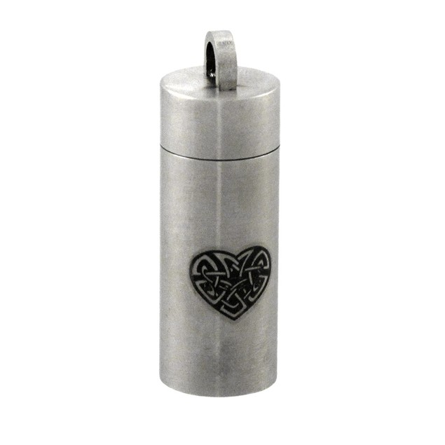 Stainless Steel Celtic Heart Cylinder Stash Womens Pendants