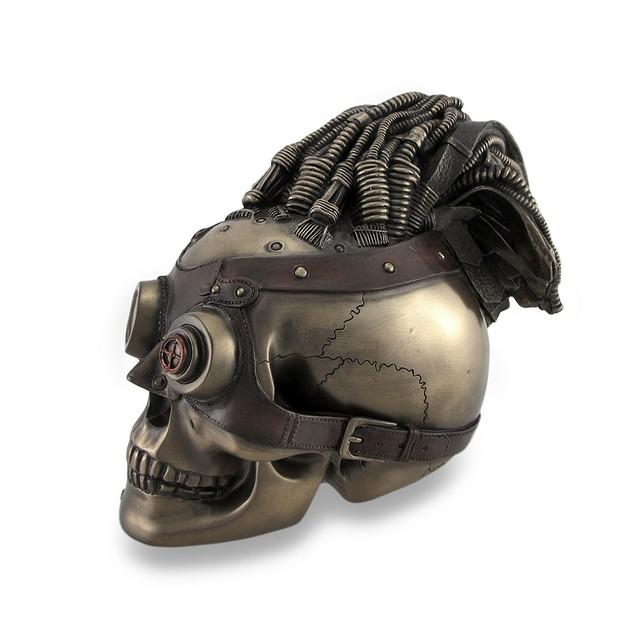 Bronzed Steampunk Skull Sculptural Industrial Head Sculptures