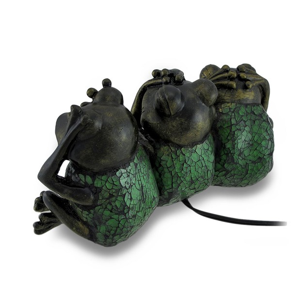 No Evil Frogs Green Crackle Glass Accent Lamp Childrens Night Lights