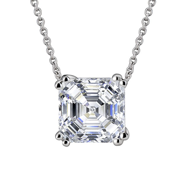 C.Z. Sterling Silver Rhodium Plated Square Shape Stud Pendant