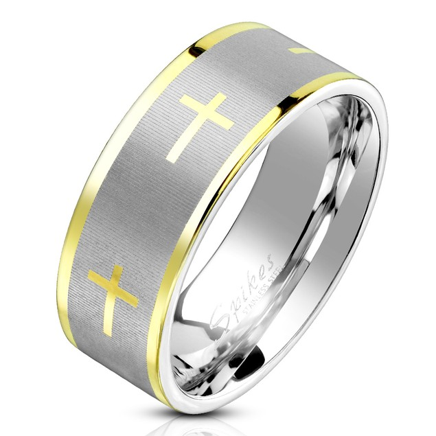 Cross Style Stainless Steel Comfort Fit Mens Band