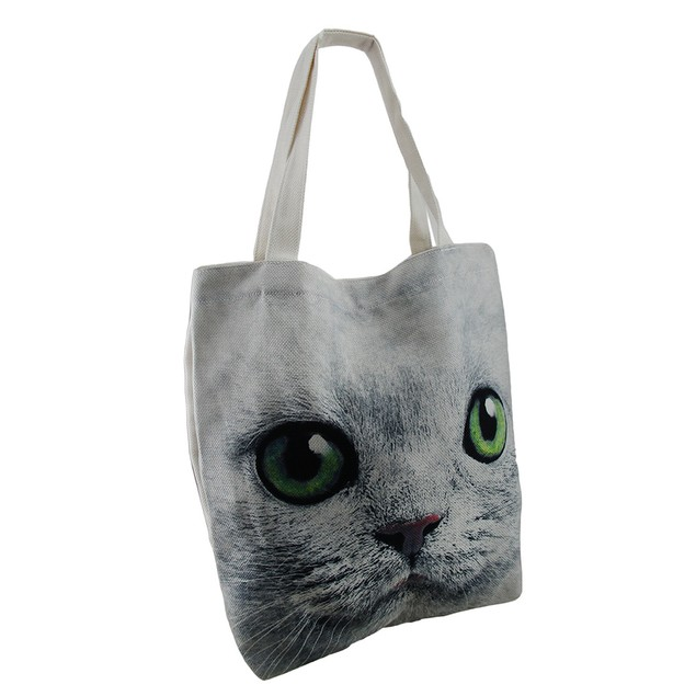 Up Close And Enlarged Green Eyed Cat Face Large Womens Tote Bags