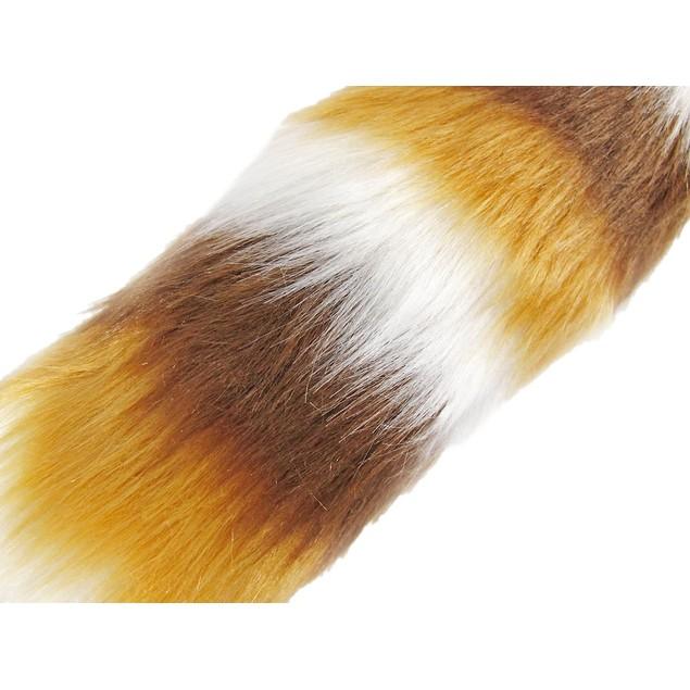 Brown, Tan  White Striped Fox Tail W/ Clip Faux Fox Tails