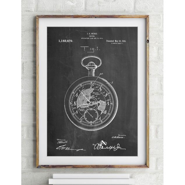 U.S. Watch Co. Pocket Watch Patent Poster
