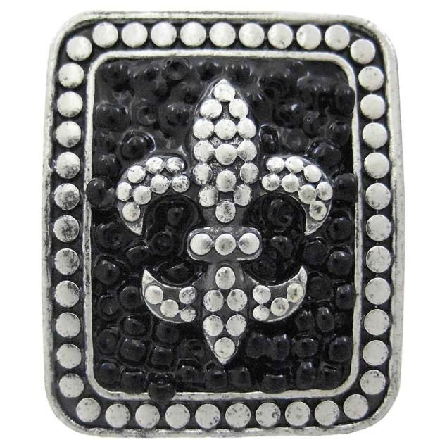 Large Pewter & Black Bead Fleur De Lis Stretch Womens Rings