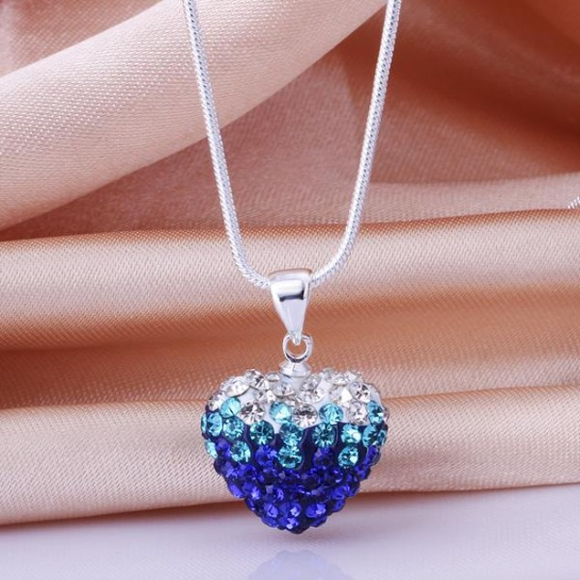 Two Toned Crystal Austrian Stone Heart Shaped Necklace - Royal Blue