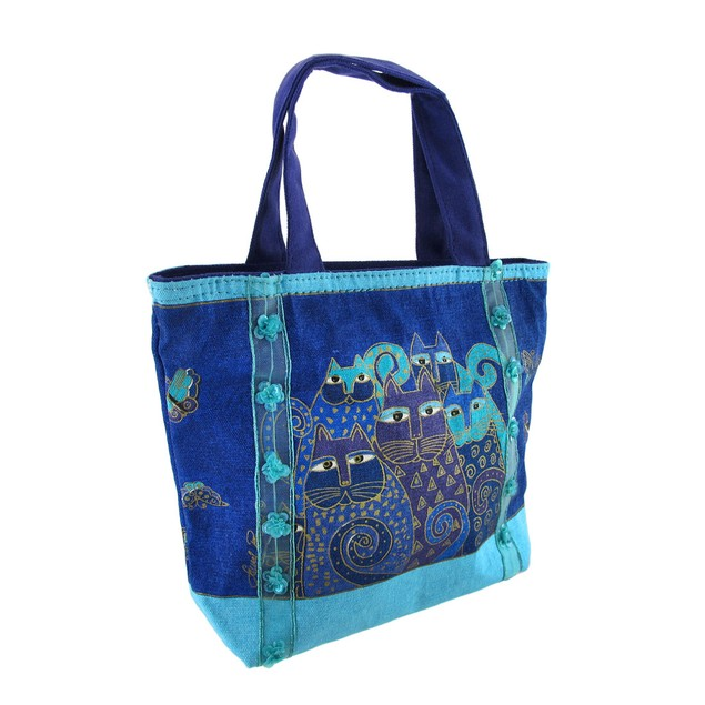 Laurel Burch `Indigo Cats` Mini Tote Purse Womens Tote Bags