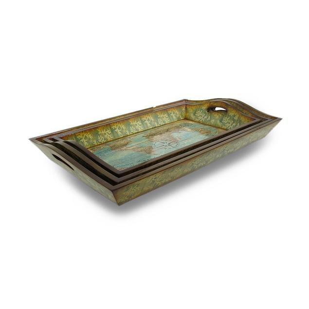 Set Of 3 World Atlas Decorative Wooden Trays Decorative Trays