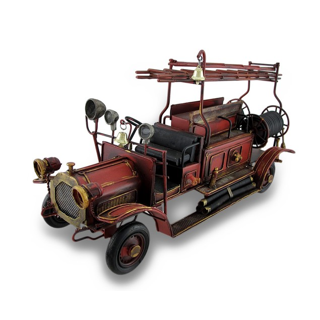 Red Antique Fire Truck Decorative Metal Statue Statues