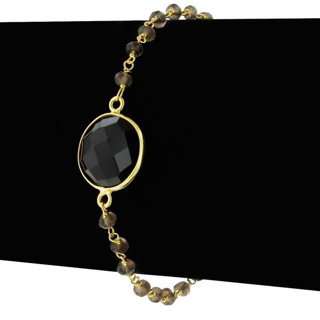 Gold Tone Sterling Silver 6 Carat Smoky Topaz Bracelet