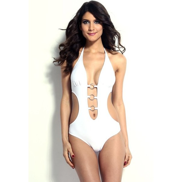 White Halter One-Piece Swimsuit with O-Ring Details