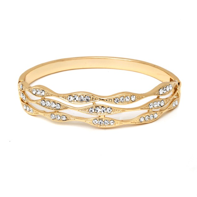 Gold & Crystal Laced Bangle