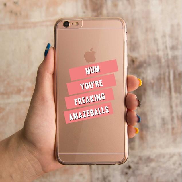 360° Full Protection Amazeballs Mum Clear Phone Case
