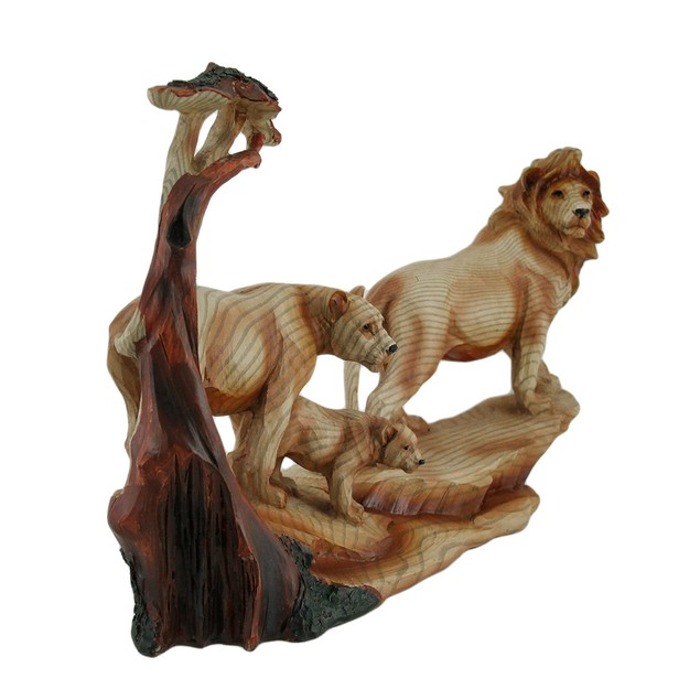 African Lion Family Carved Wood Look Resin Statue Statues