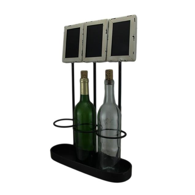 3 Bottle Rustic Metal Wine Holder W/Chalkboard Wine Bottle Holders