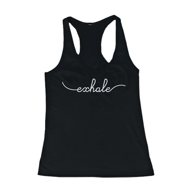 Inhale and Exhale Friendship Black Matching Tank Tops Cute BFF Tanks