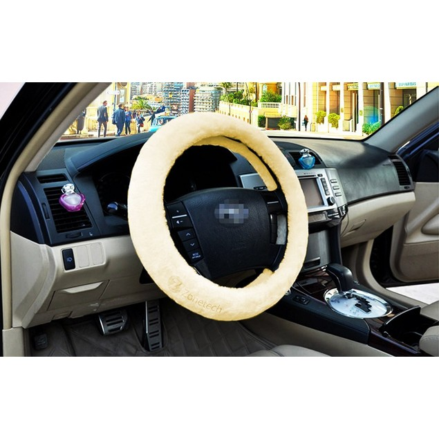 Zone Tech Car Decoration Steering Wheel Plush Cream Cover