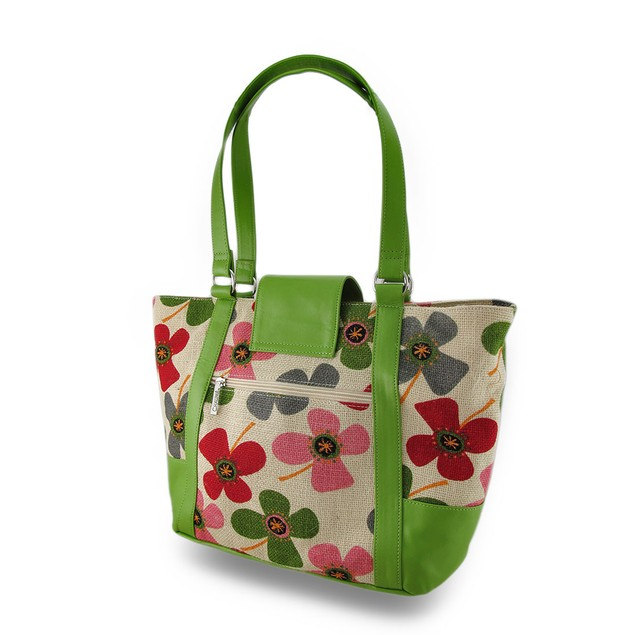 Fashionable Floral Burlap Insulated Cooler Tote Reusable Lunch Bags