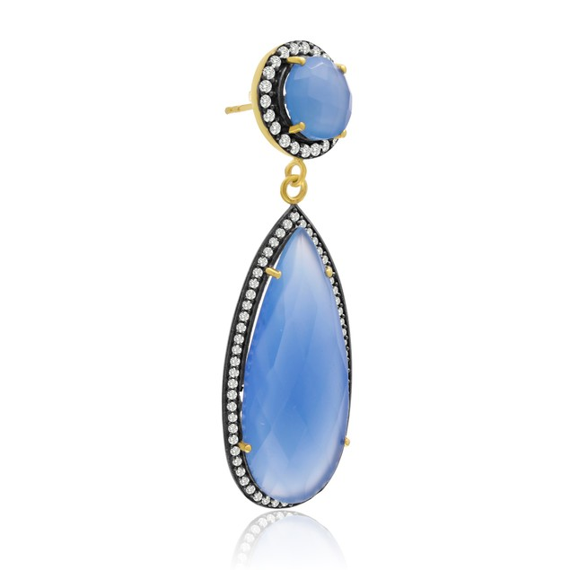 14k Gold 64ct Pear Shape Blue Chalcedony and CZ Halo Dangle Earrings