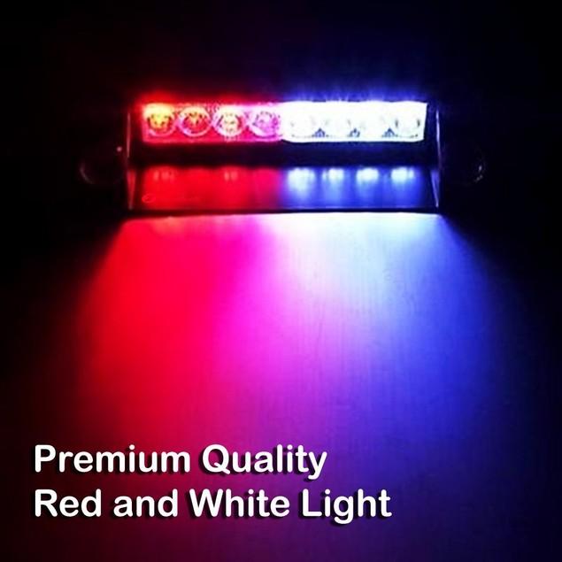 Zone Tech 8-LED Emergency Car Dash Warning Strobe Flash Light Red/White