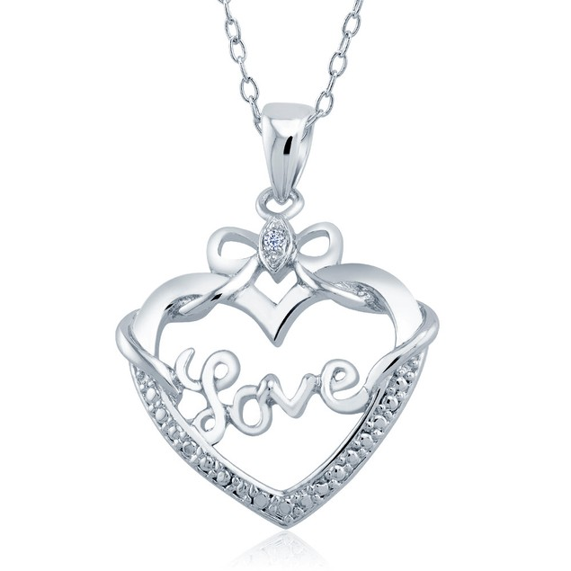 1/10cttw Diamond Accent Bow Love Heart Necklace