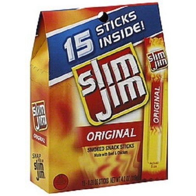 Slim Jim Snack Sticks 15 Stick Boxes 2 Boxes Included Original, Mild