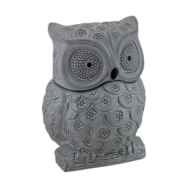 Gray Ceramic Owl Shaped Decorative Cookie Jar Cookie Jars