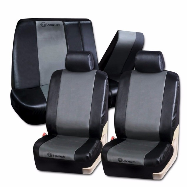 Zone Tech Gray Black Classic Leather Luxury Universal Car Seat Covers