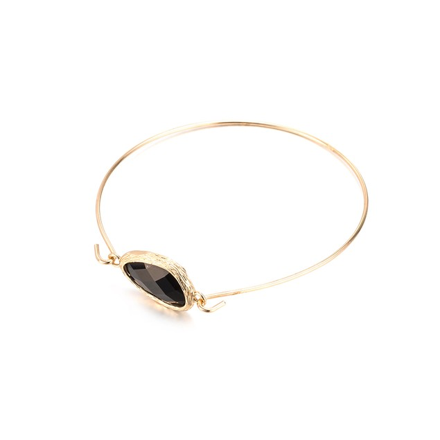 White Gold Plated Onyx Gem Bangle