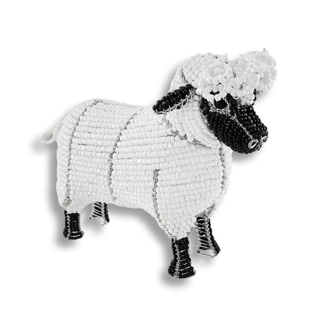 Beadworx White And Black Glass Bead Sheep Statues