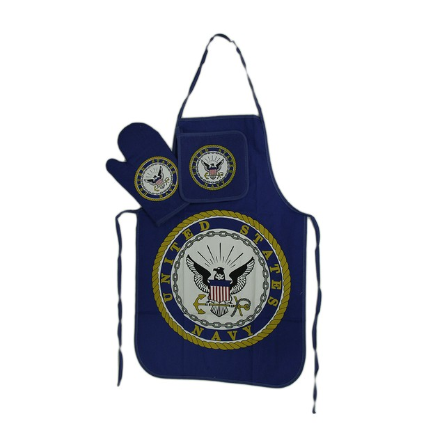 U.S. Navy Barbecue Apron, Mitt, Potholder 3 Pc. Kitchen Aprons