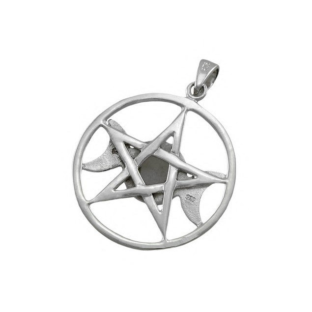 Sterling Silver Triple Moon Pentacle Pendant W/ Womens Pendants