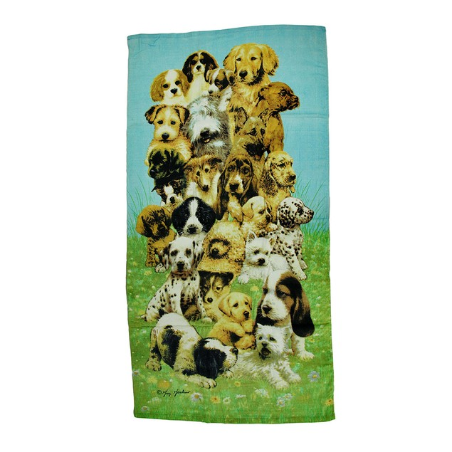 Pile Of Puppies Print Collage Style Beach Towel 30 Beach Towels