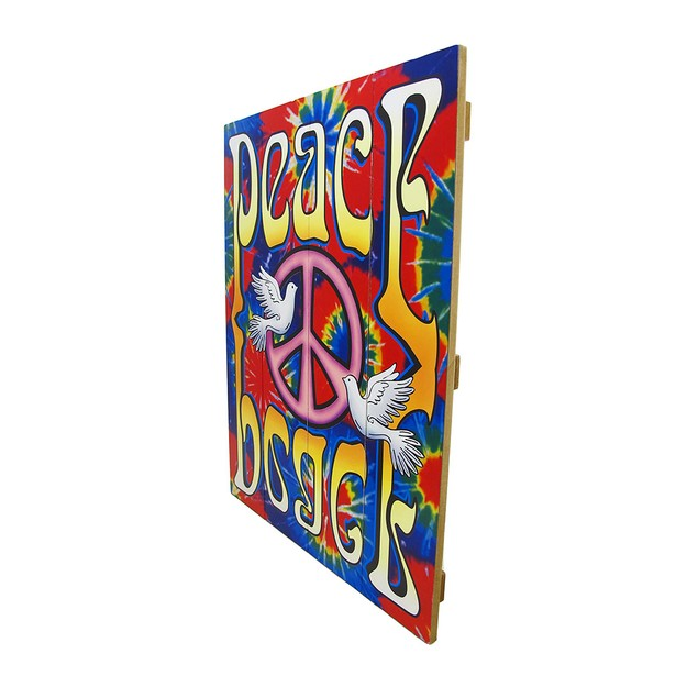 Brightly Painted Tie-Dye Peace Dove Wooden Slat Decorative Plaques