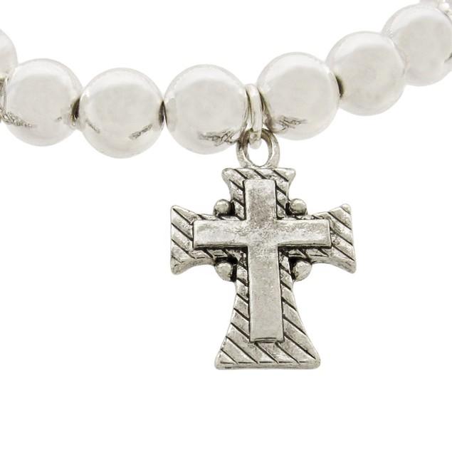 Dangling Cross Chrome Plated Stretch Bracelet Womens Stretch Bracelets
