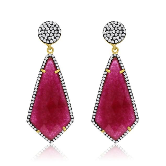 14k Yellow Gold 45 Carat Ruby and CZ Dangle Earrings