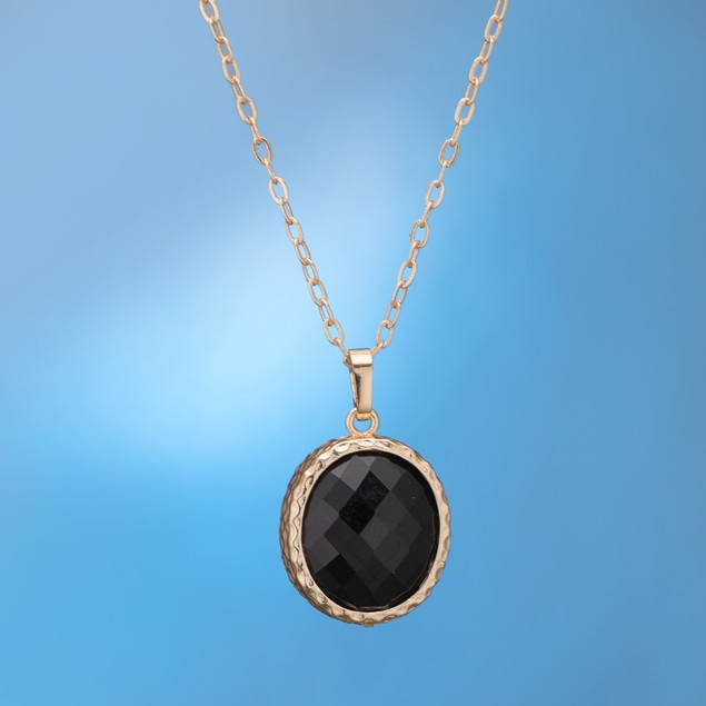 Gold Plated Dark Onyx Jewels Necklace & Earrings Set