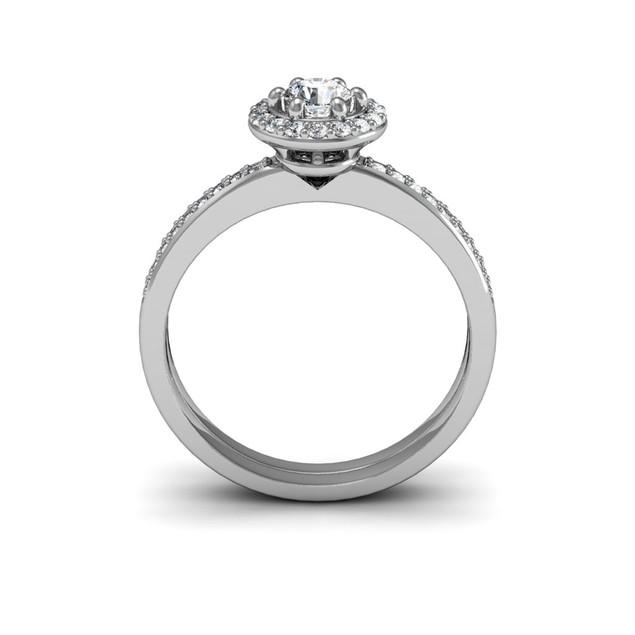 1/2ct Pave Diamond Bridal Set, Round Center