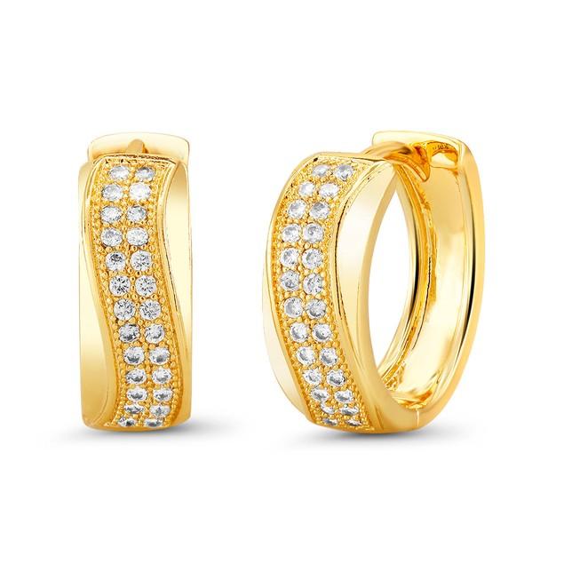 18kt Yellow Wave Goldtone Cubic zirconia  Huggie Earrings