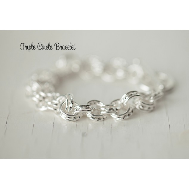 Silver Plated Triple Circle Braceet