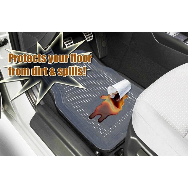Zone Tech Clear Car Durable Ridged Rugged Rubber Piece Floor Mats 4 Piece