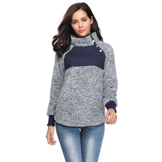 Asymmetrical Snap Fleece Pullover