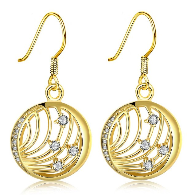 Gold Plated Laser Cut Wire Jewels Drop Down Earrings