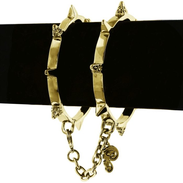 Gold Spike Handcuff Style Bangle