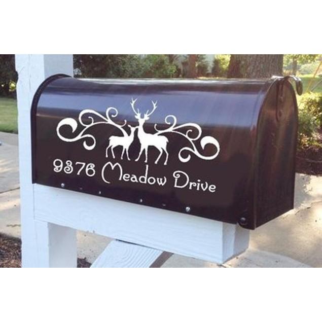 Deers Flourish Mailbox Decal