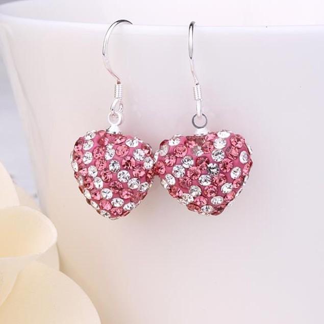 Two Toned Austrian Stone Hearts Drop Earrings -Dark Coral