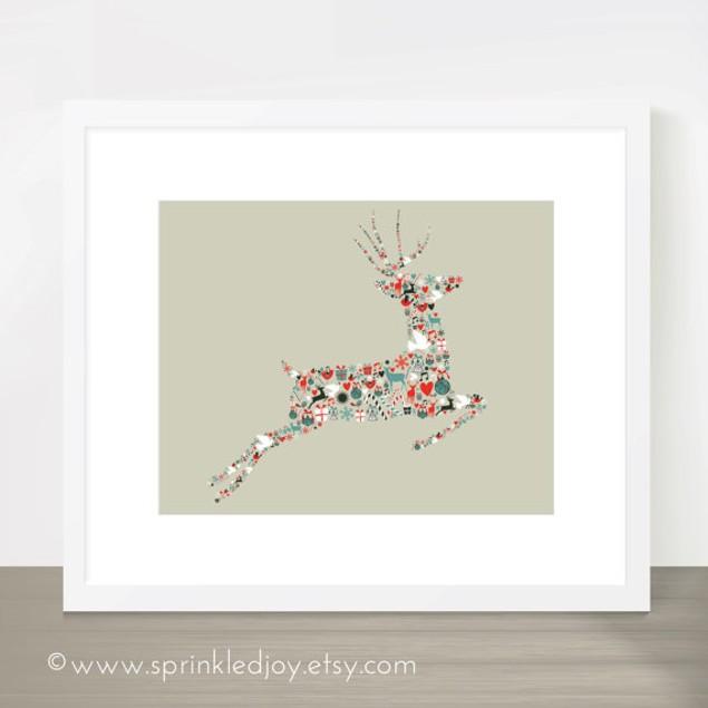 """Christmas Reindeer Noel Print, 8""""x10"""" - 2 Styles"""