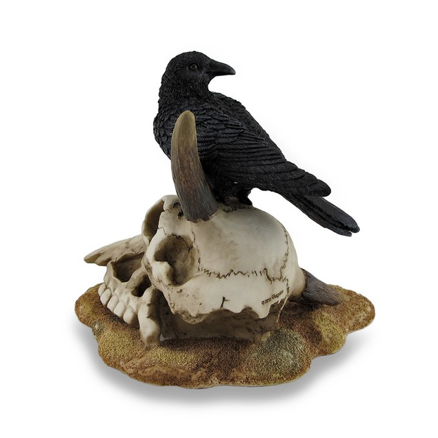 Black Crow Perched On Longhorn Skull Sculptural Statues