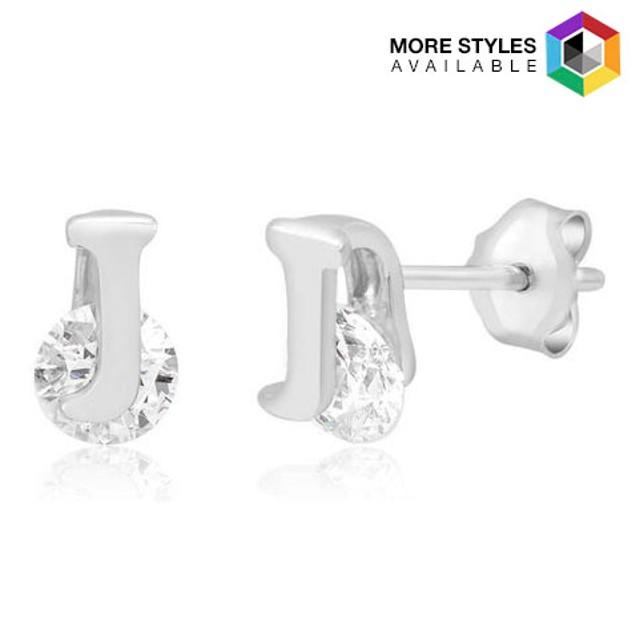 Cubic Zirconia Intial Stud Earrings