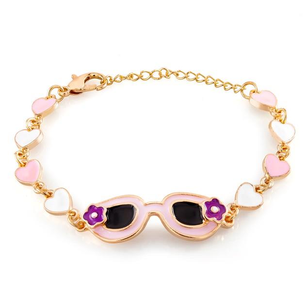 Kids Gold Plated Sunglasses Enamel Bracelet